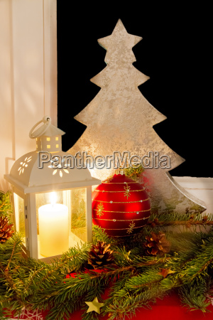 christmas decoration on a window sill