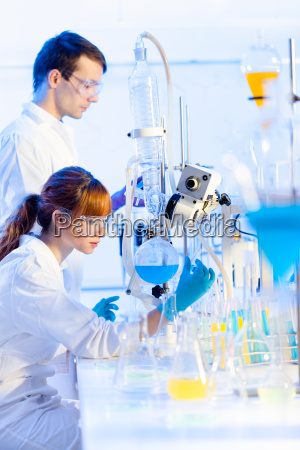 young chemists in the laboratory