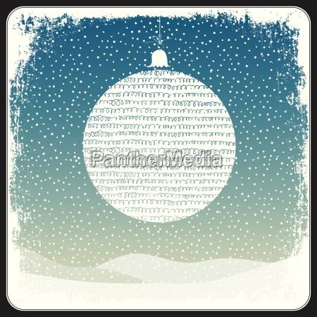 merry christmas ball greeting retro card