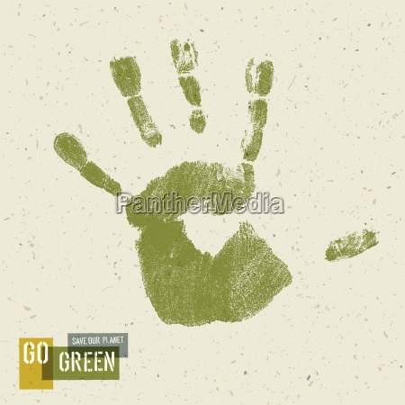 go green concept poster handprint on