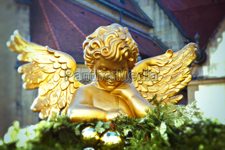 gold angel on the christmas market