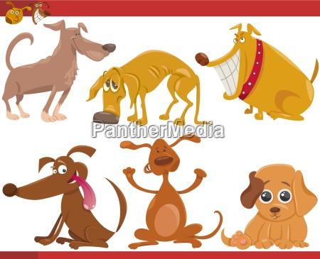 happy dogs cartoon illustration set