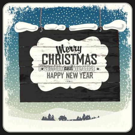 merry christmas greeting retro card vector