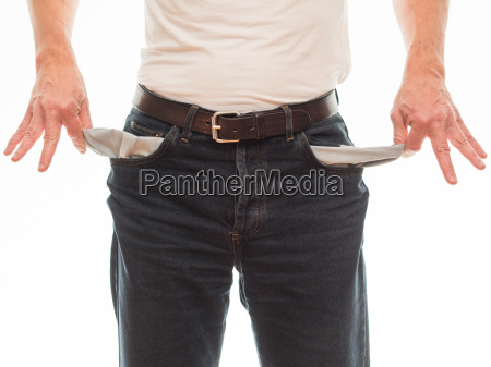 man turns his pockets to
