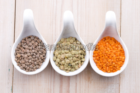 three kinds of lentil in bowls