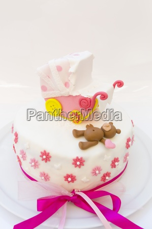 baby carriage baby stroller bow cake