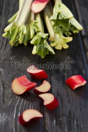 blurred background chopped rhubarb chunk cropped