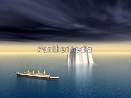 ocean liner and iceberg