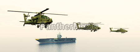 apache helicopters and aircraft carriers