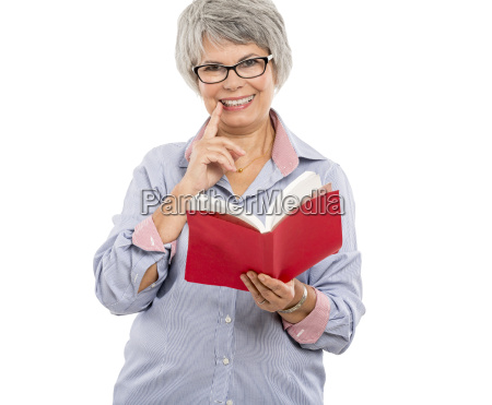 elderly woman with yellow notes