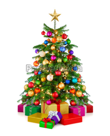 colorful christmas tree with gifts