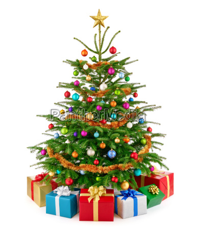 chic christmas tree with colorful gifts