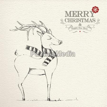 christmas hand drawn unique reindeer illustration