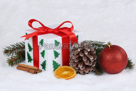 gift gift at christmas with snow