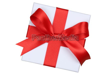 gift with bow from above for
