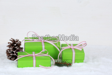 gift gifts at christmas with snow