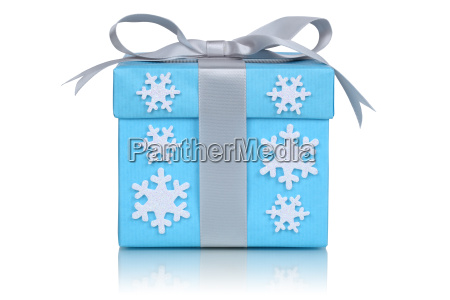 christmas gift with snowflakes gift at