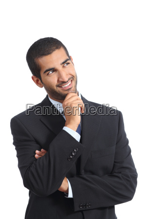arab happy business man thinking while