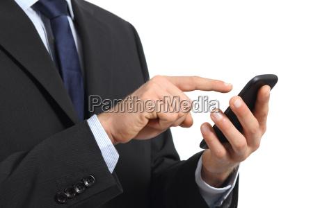 business man hands touching a smart