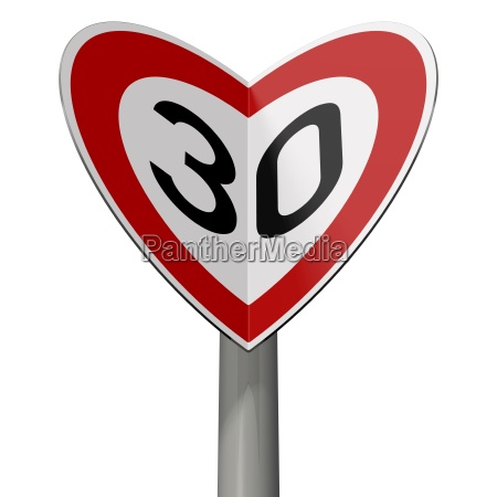 traffic sign tempo 30 forms hearts