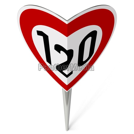 road sign tempo 120 forms heart