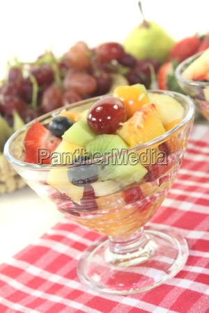 fruit salad on a checkered napkin