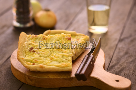 german zwiebelkuchen or onion cake