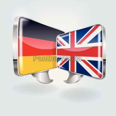 speech bubbles with german and english