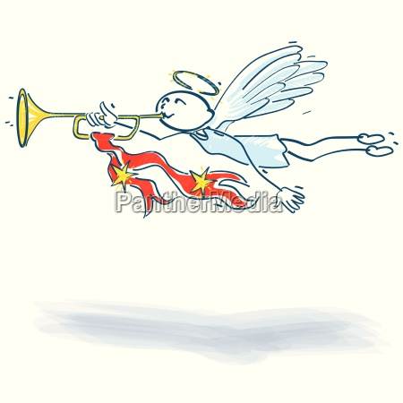 stick figure angel with trumpet