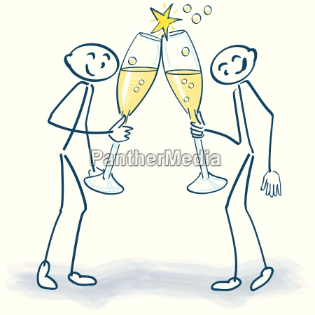 stick figure with champagne glasses