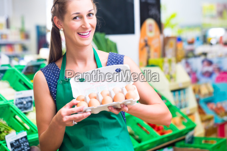 supermarket employees offers eggs