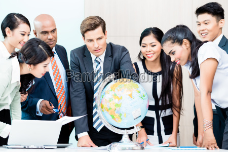 business team discussing global market intelligence