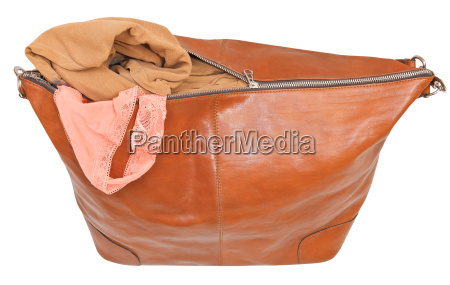 ajar leather bag with blouse and