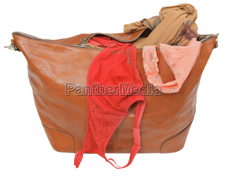 ajar leather bag with bra and