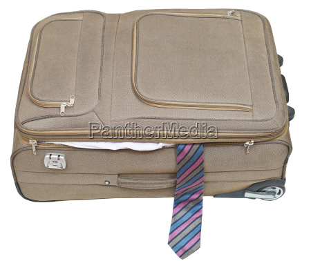 ajar textile suitcase with male tie