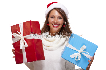 happy attractive brunette woman with santa