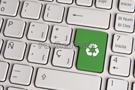 go, green, concept, , recycle, keyboard, key. - 13114218
