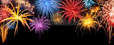 fireworks panorama on black