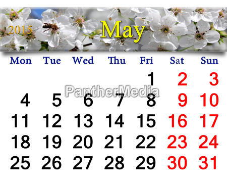 calendar for may of 2015 year