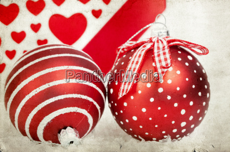 vintage decoration with red christmas balls