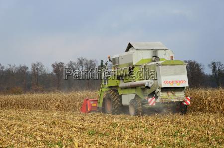 combine harvester sat during the harvest
