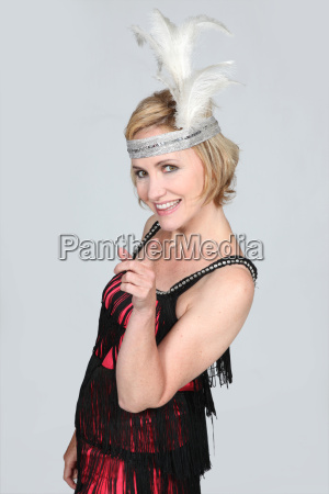woman wearing cabaret costume