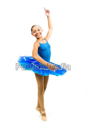 beautiful ballet dancer with blue dress