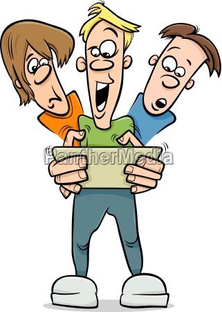 boys playing game cartoon illustration