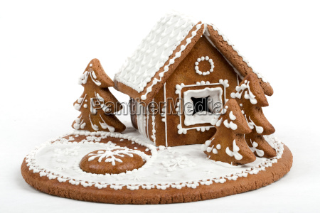 holiday gingerbread house isolated on white