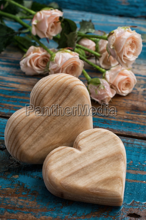 wood hearts handmade and roses for