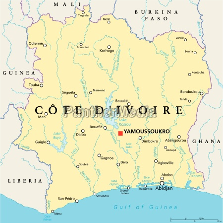ivory coast political map cote