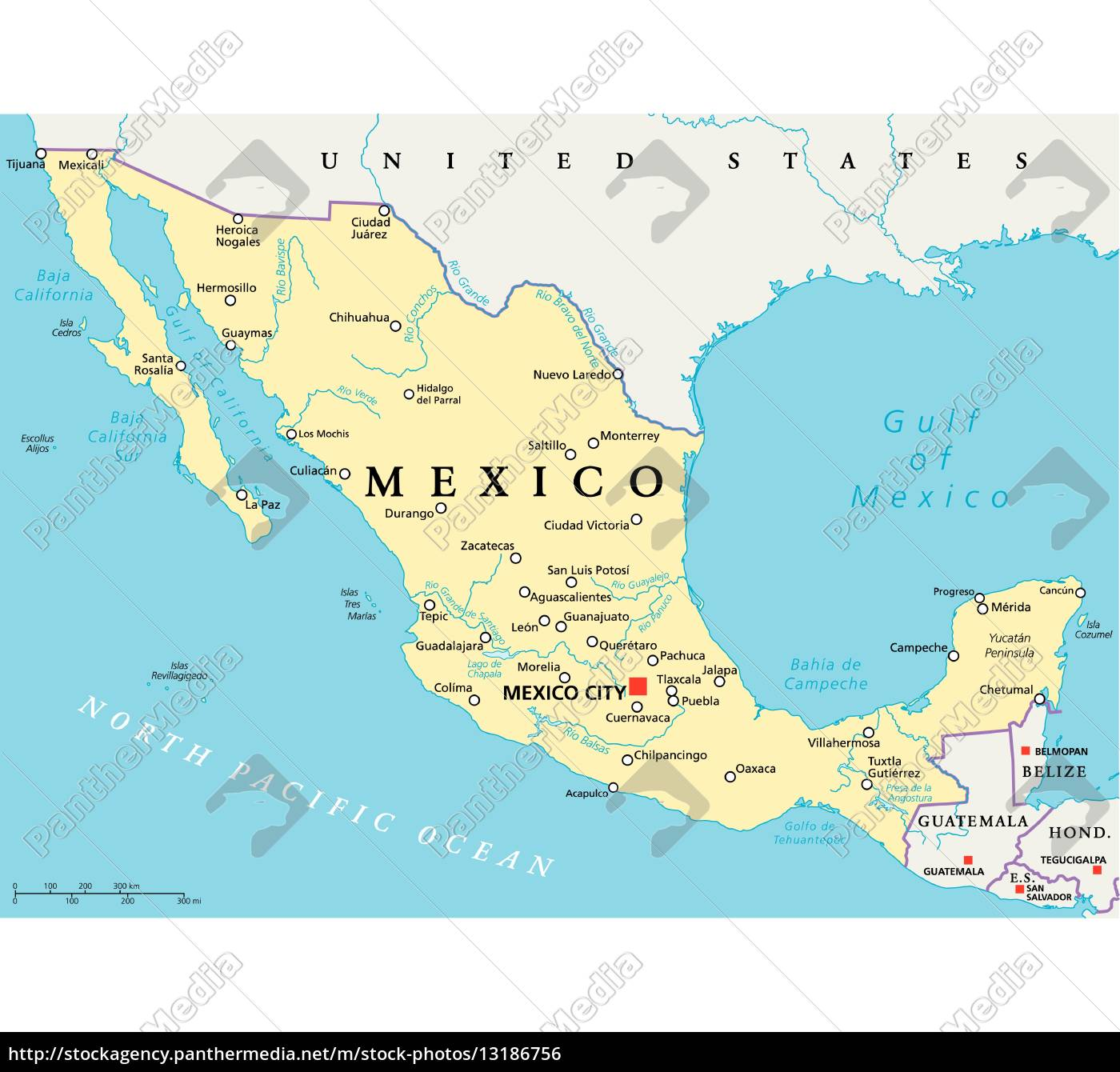 Mexico Political Map Royalty Free Photo 13186756