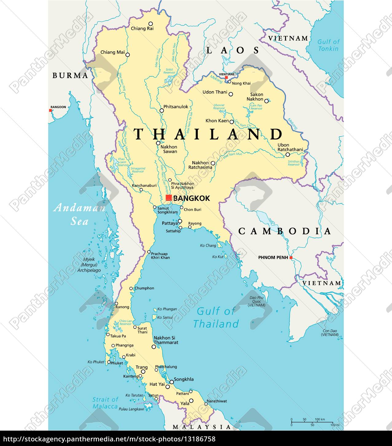 Thailand Political Map Royalty Free Image 13186758