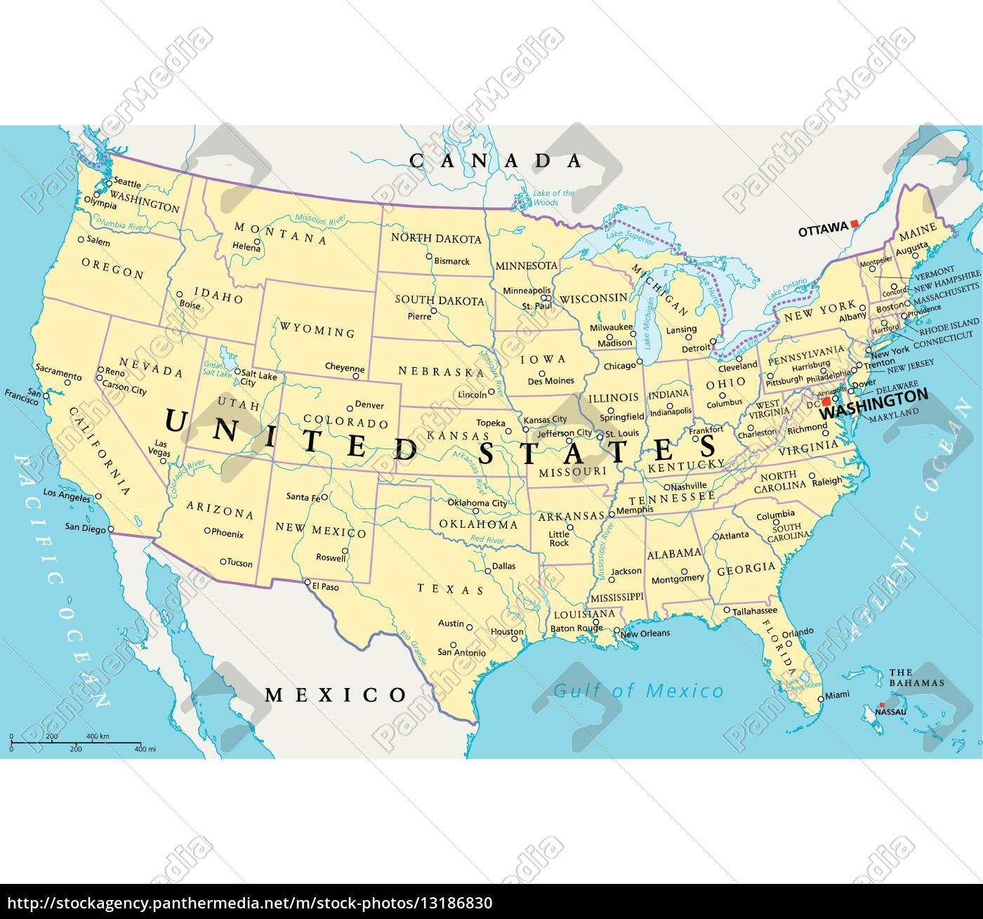 United States Of America Political Map Royalty Free Image